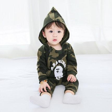 ~~BeBeMom ♪~日潮牌bape 迷彩猿人寶寶嬰兒連帽長袖拉鍊連身裝兔裝
