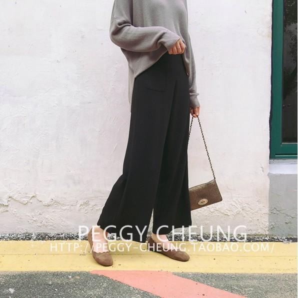 2016  簡約純色寬松顯瘦 西裝褲高腰百搭闊腿九分褲寬褲