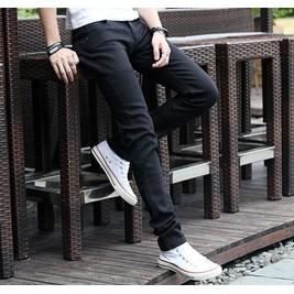 彈力修身男士牛仔褲男直筒男褲 長褲子秋春薄款小腳潮男裝長褲黑色小腳褲牛仔