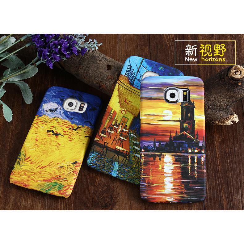 三星S6 A8 J7 彩繪油畫牡丹稻穗黃昏風景手機殼手機硬殼