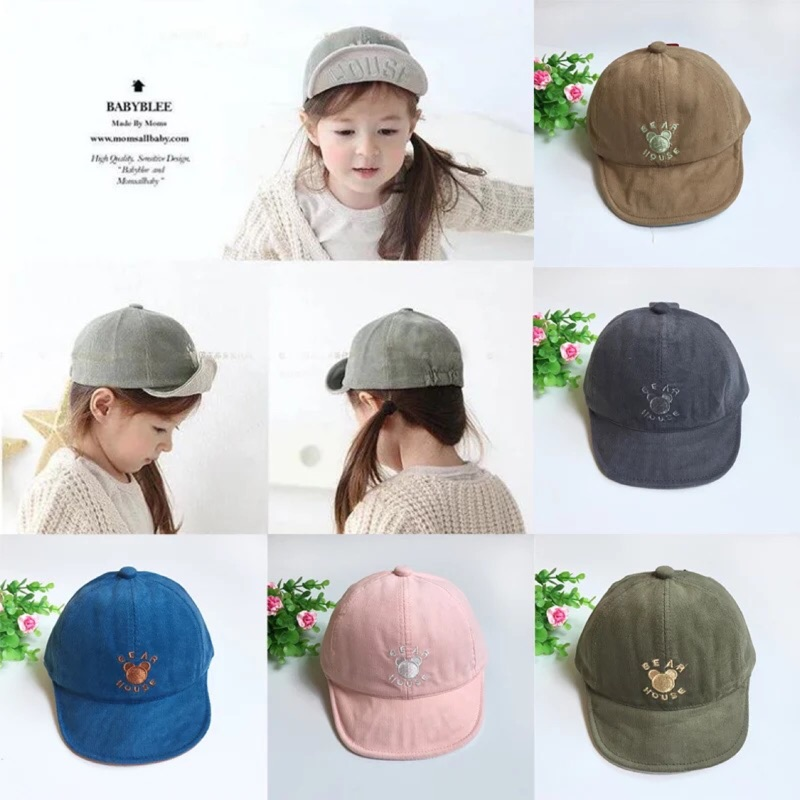 燈芯絨刺繡熊兒童棒球帽寶寶帽子嬰兒帽春秋 軟沿帽