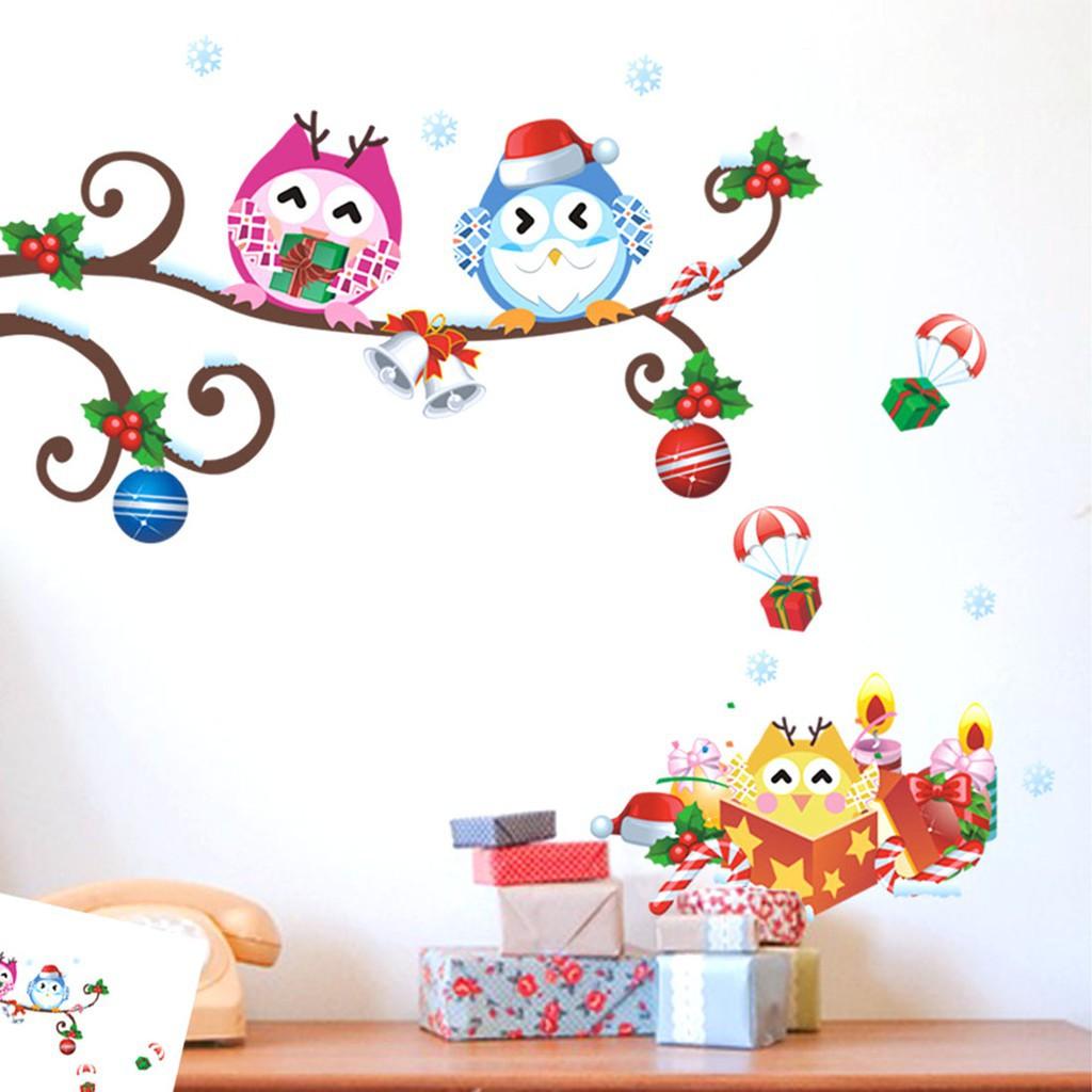 ZoozYoo 貓頭鷹聖誕圖案可拆卸藝術牆貼紙裝飾貼花70 59 厘米