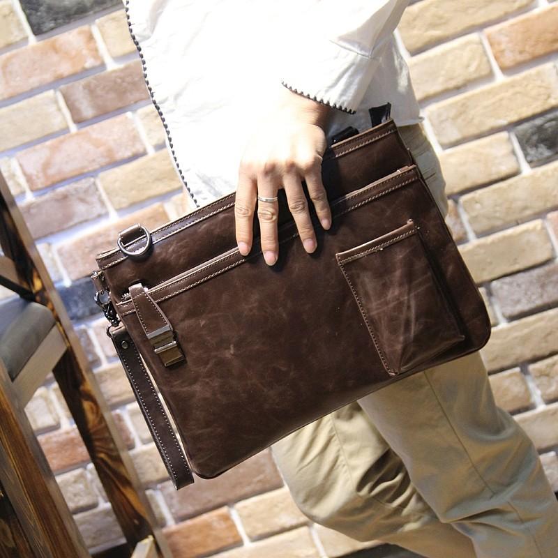 復古男士手拿包潮流 文件包商務包公文包單肩原創 男生包包名片夾短夾錢包公事包休閒包包信封包