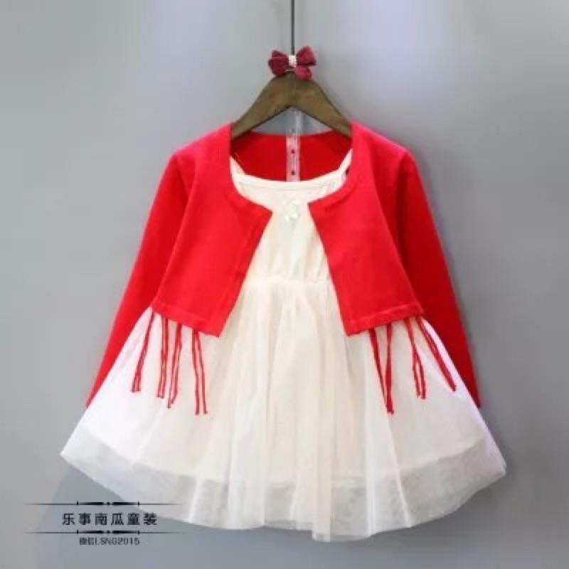 秋款針織流蘇罩衫金蔥吊帶紗裙