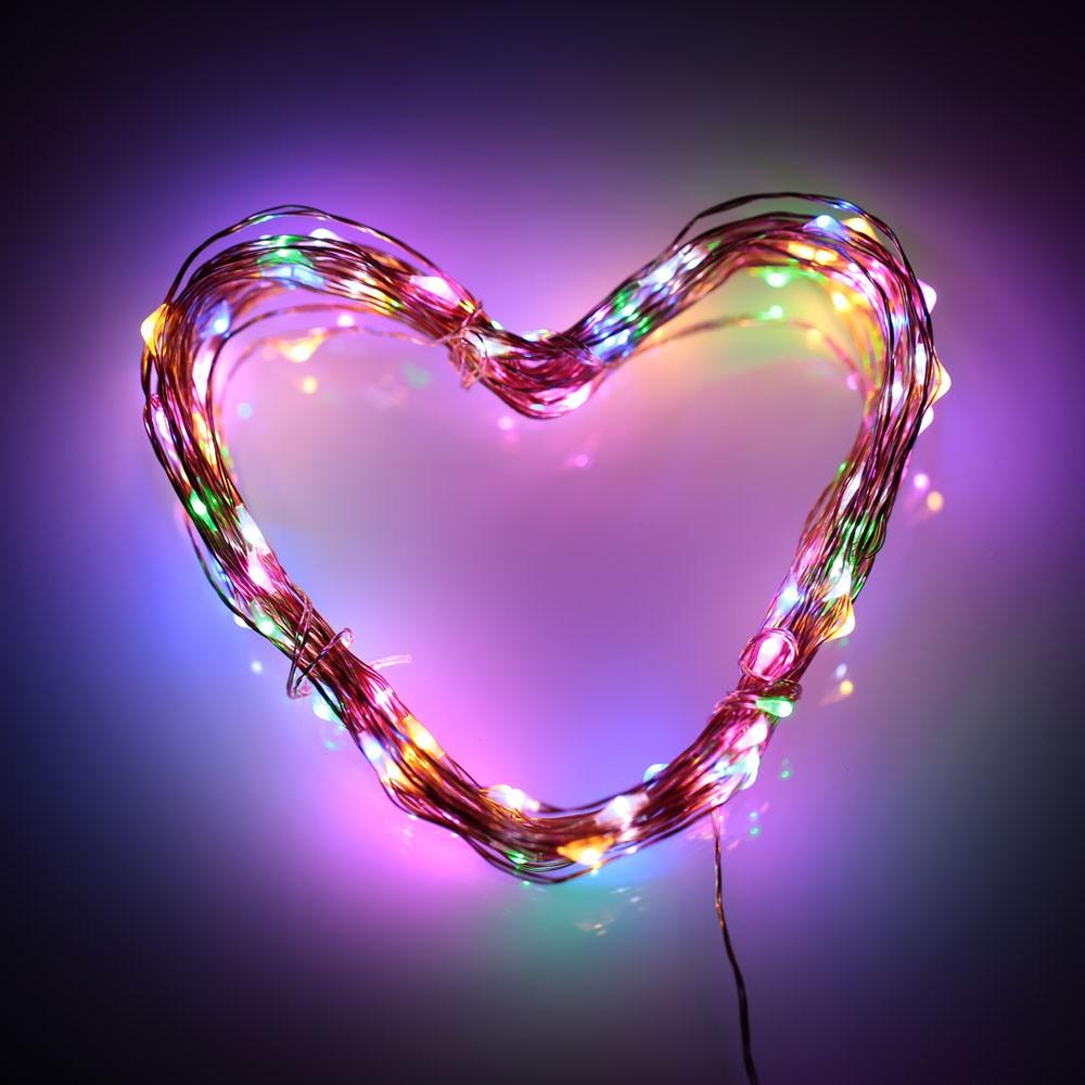 ~ ~10 米100 個LED 燈防水燈串銅線易弯曲 爱心星星形状USB 供电彩色暖白光浪