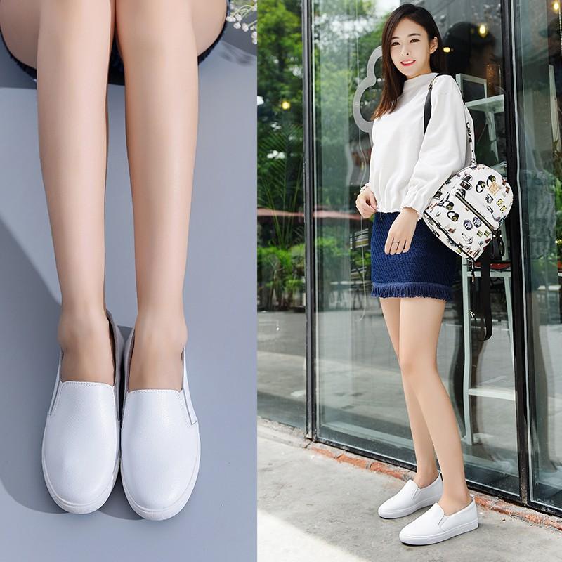 真皮小白鞋平底單鞋護士鞋白色女鞋工作鞋樂福 一腳蹬懶人女鞋