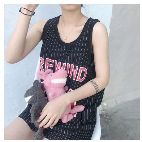 K 1435 ♡ 球衣寬鬆顯瘦34 印花條紋中長款背心裙