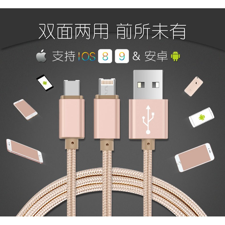 2 合1 I7PLUS 可充蘋果Lighting 安卓Micro 快充閃充數據線充電線三星
