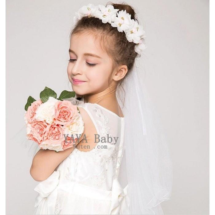 Yaya baby 雙層蕾絲兒童頭紗女童禮服婚紗頭飾公主披紗花童花環飾品