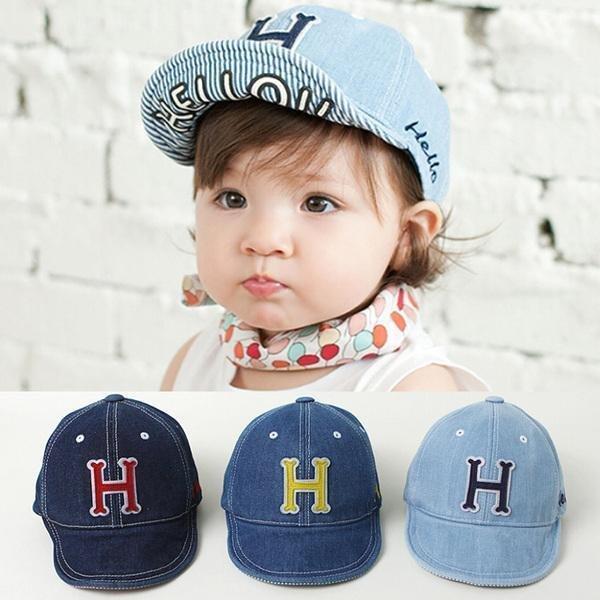帽子棒球帽H 字母牛仔帽寶寶帽太陽帽鴨舌帽童帽