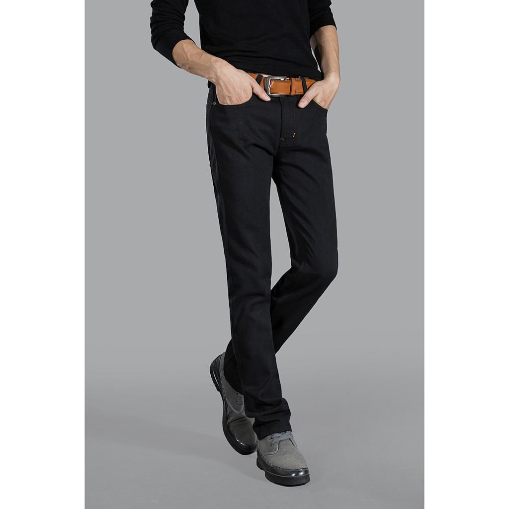 四季新品男休閒褲直筒款修身黑色男式牛仔褲