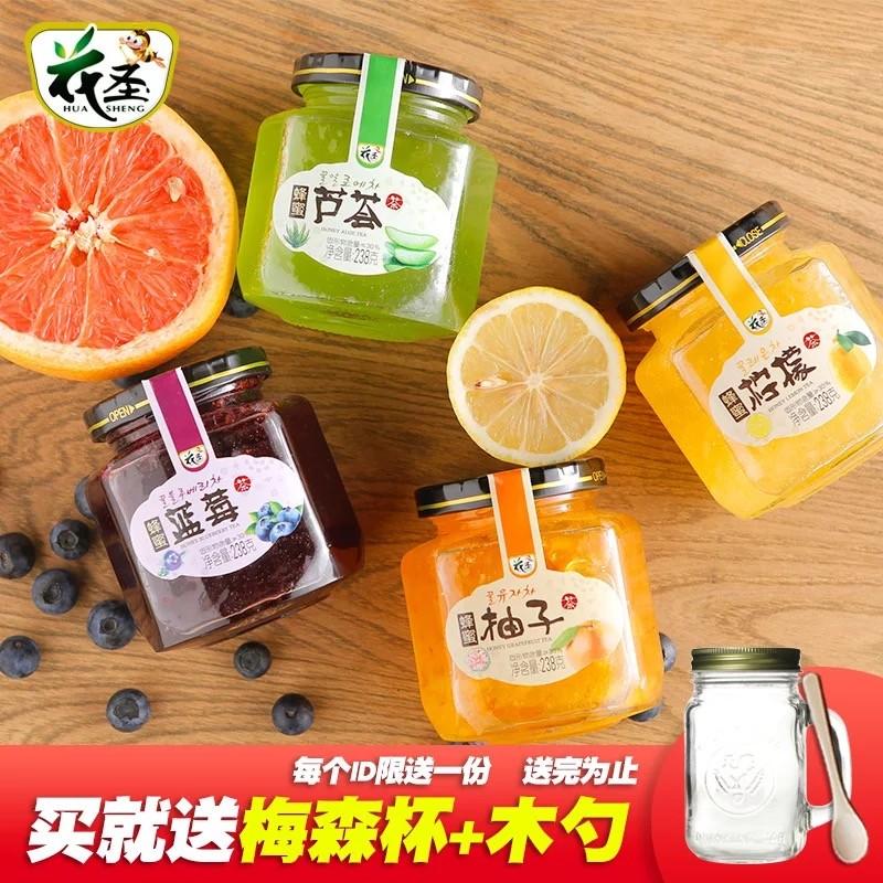 蜂蜜柚子茶檸檬茶蘆薈茶藍莓茶韓國風味 工藝水果茶沖飲品四瓶裝