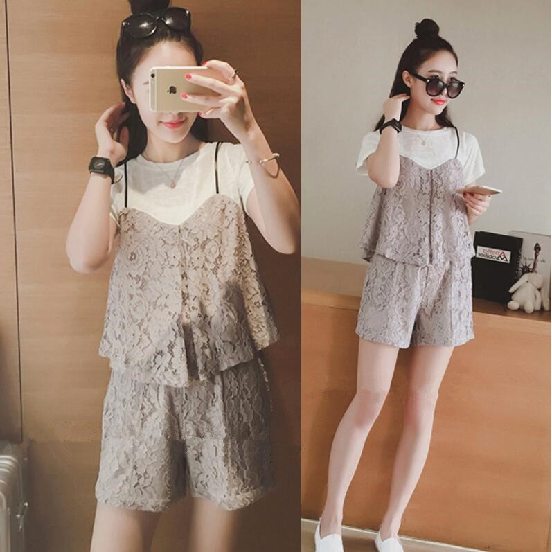 Hanagirl 韓國✈孕婦洋裝娃娃裝蕾絲荷葉上衣背心短褲兩件套