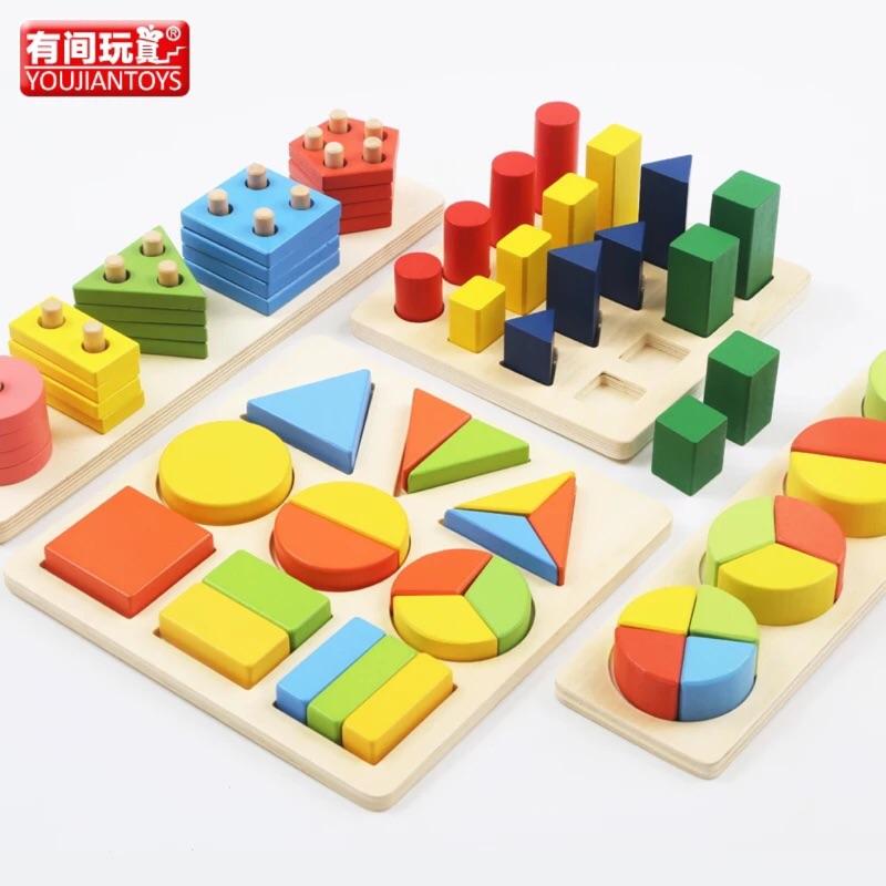 蒙氏早教幾何木質玩具~1 3 歲拼圖板形狀積木寶寶益智玩具( ) 無法退換貨~還請慎選