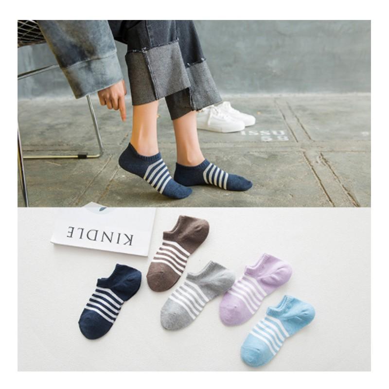 5 雙只要130 元 日系清新純棉彩色條紋防臭短襪隱形襪 襪子女