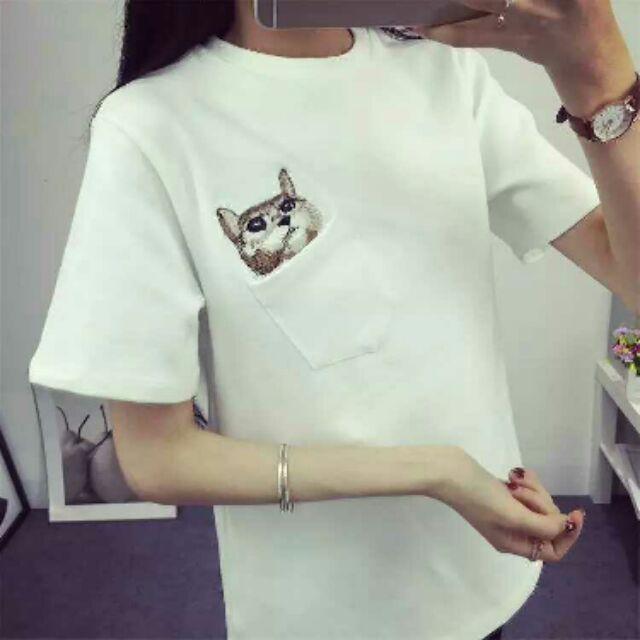 春夏 女裝寬鬆大碼短袖T 恤口袋刺綉貓咪百搭上衣學生打底衫(共10 色)