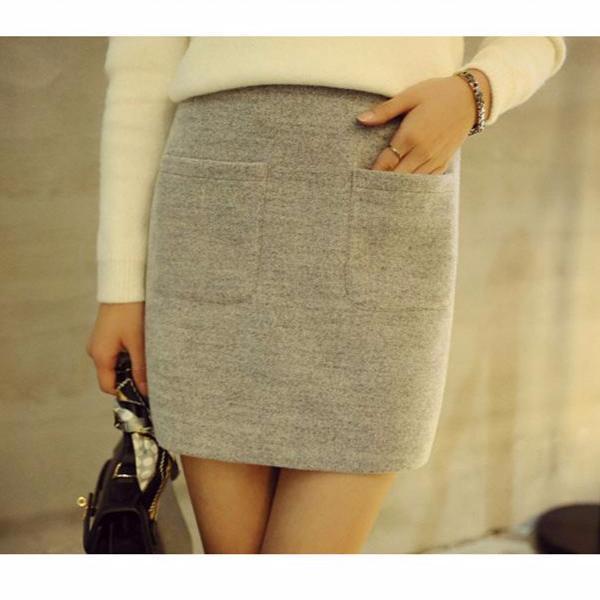 106 193 毛呢A 字裙百搭高腰呢子包裙修身半身裙女短裙包臀裙