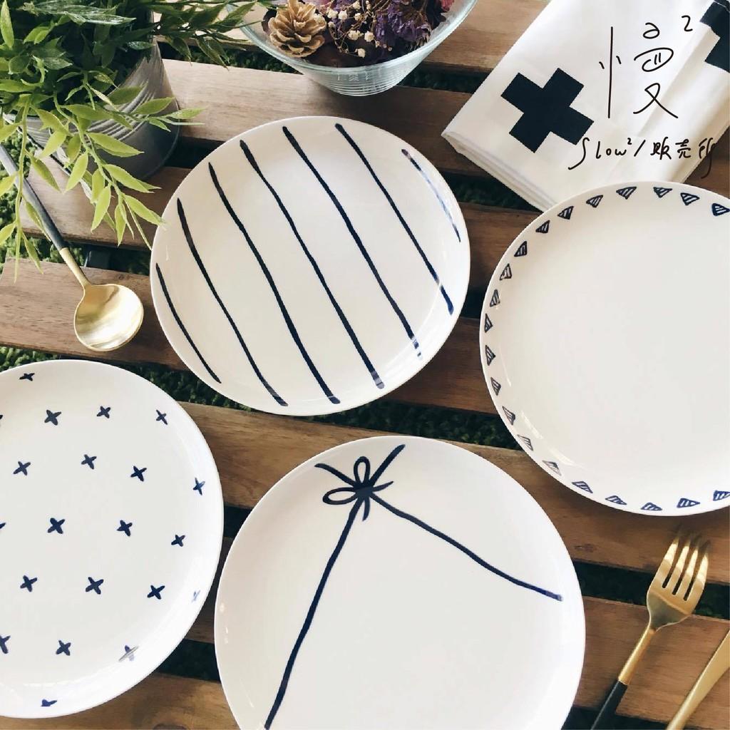 ~ ~ZAKKA 餐盤北歐職人手繪幾何線條8 寸骨瓷盤牛排盤西餐盤