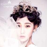 羅絲新娘飾品新娘頭飾歐式復古巴洛克女王大皇冠金色