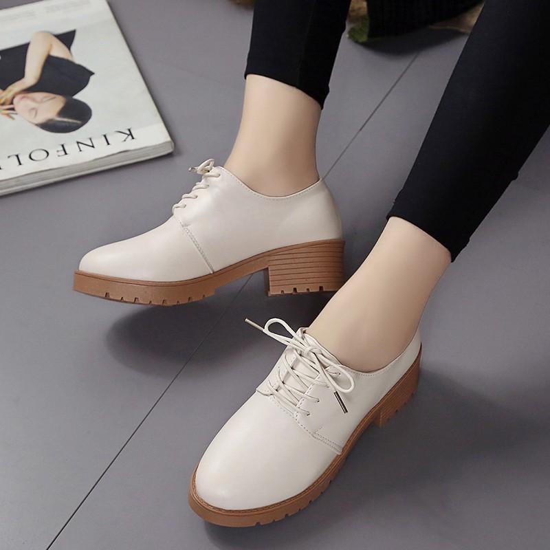 小皮鞋女英倫復古學院風工作鞋中跟粗跟單鞋圓頭系帶學生厚底女鞋