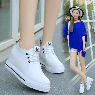 春 鞋女內增高女鞋小白鞋透氣系帶 鞋坡跟厚底中跟單鞋