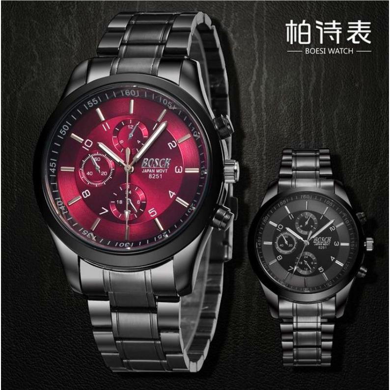 工廠直發 BOESI_8251 黑金剛男士 手錶三眼手表 防水非機械錶送手錶電池
