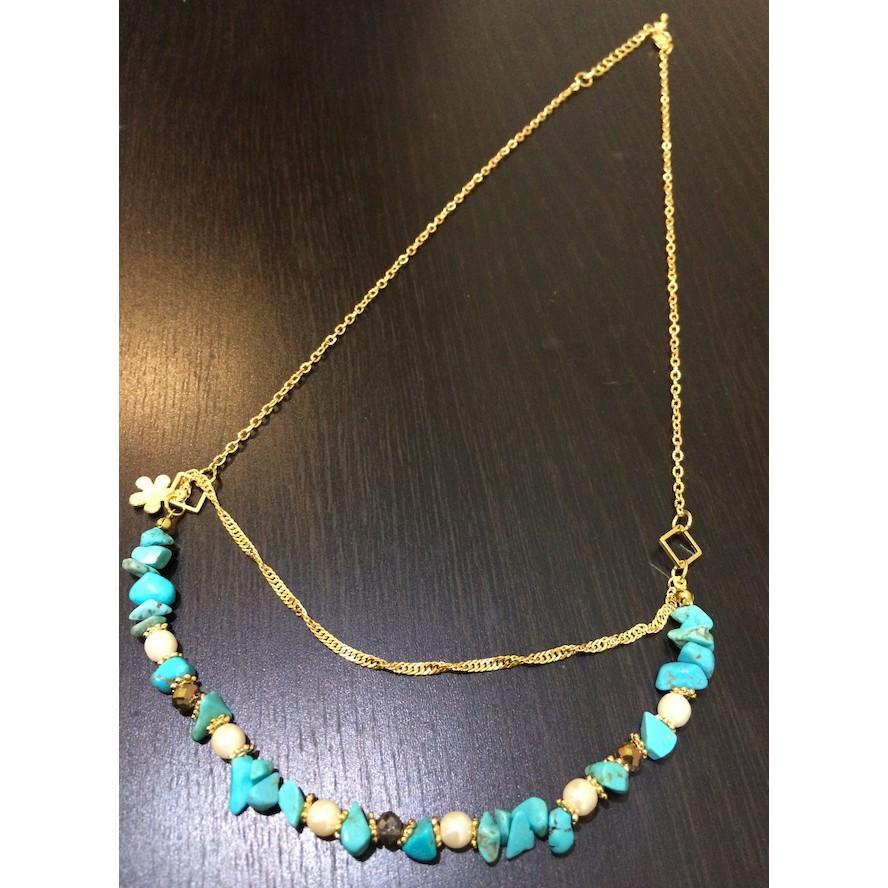 土耳其藍項鍊不規則寶石珍珠串珠民族風高 氣質大方簡單穿搭宴會派對耳飾 潮流百搭雜誌款