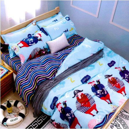 天鵝絨輕柔棉單人雙人雙人加大涼被床包被套加勒比海盜