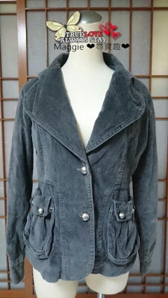 Maggie ❤尋寶趣❤一元起標無底價︵~雜誌款灰色冬天西裝式霧銀扣顯瘦小外套 ~︵