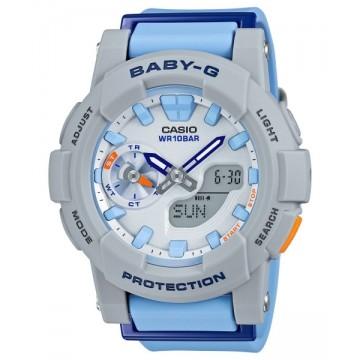 BABY G CASIO 卡西歐少女時代 淺灰天藍 路跑 雙顯電子腕錶 :BGA 185