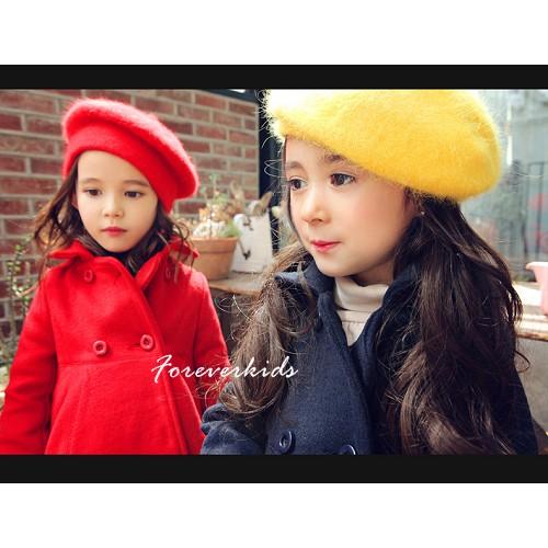 女童韓風大賞雙排釦毛呢大衣