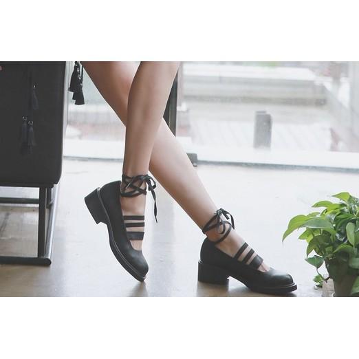 ~VOUS ~ 英倫風復古粗跟綁帶小皮鞋黑色