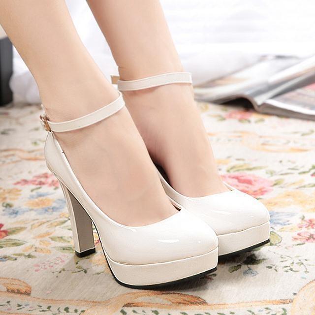 公主防水臺單鞋粗跟搭扣女鞋厚底白色高跟鞋子