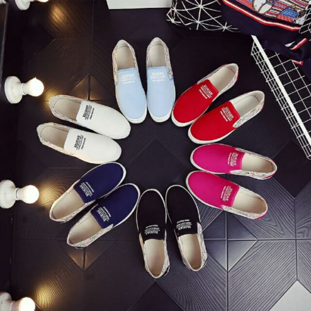 2016 帆布鞋女松糕鞋内增高懒人厚底乐福鞋学生休闲小白鞋板鞋