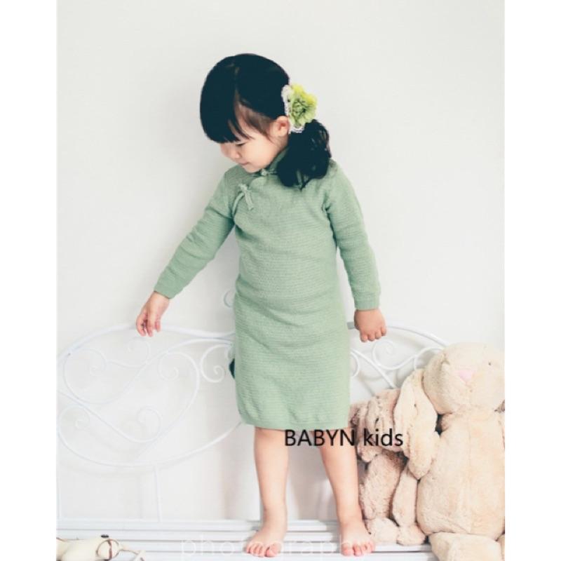 新品試賣 女 兒童純棉長袖針織旗袍寶寶連衣裙公主裙子藝術照服裝