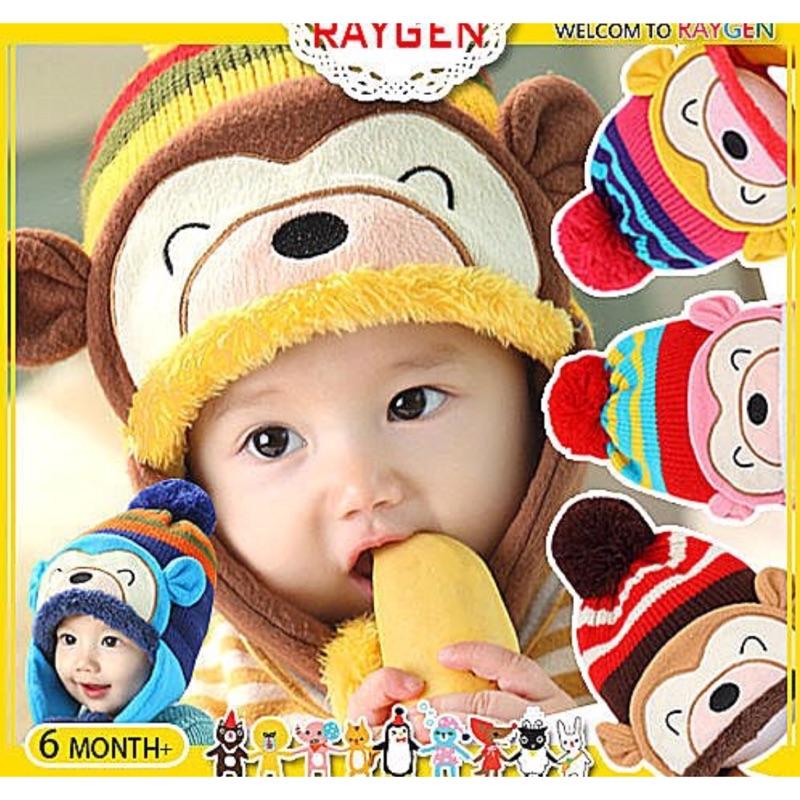 猴子保暖帽冬天毛帽 寶寶帽針織帽內刷毛