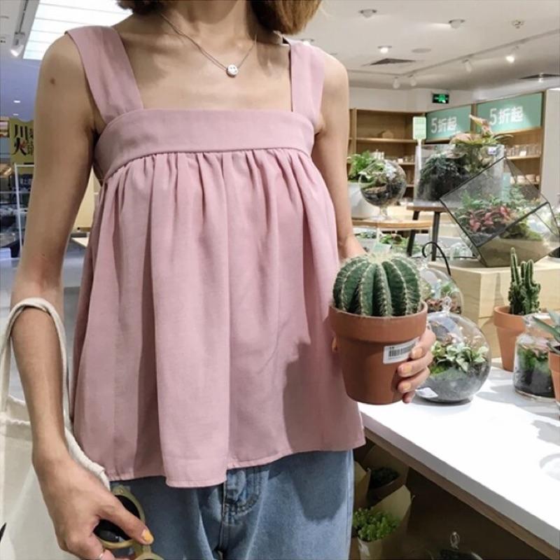 韓國Cherrykoko 同款方領寬肩帶吊帶背心上衣