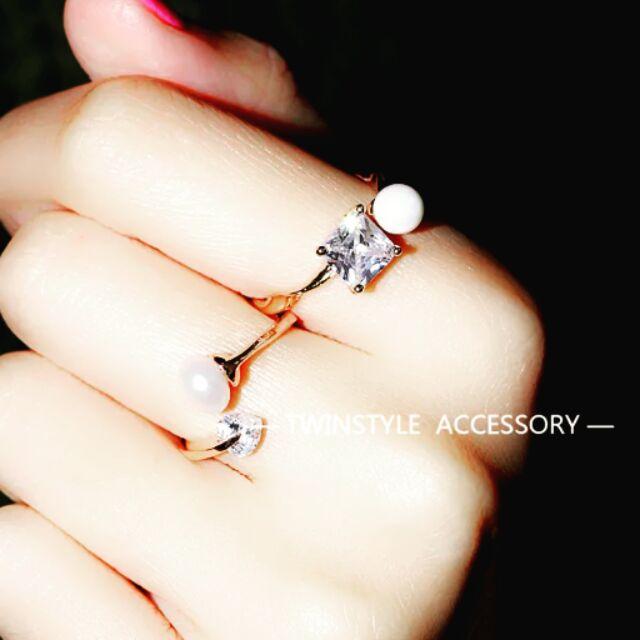 大牌明星同款鑽石珍珠指環戒