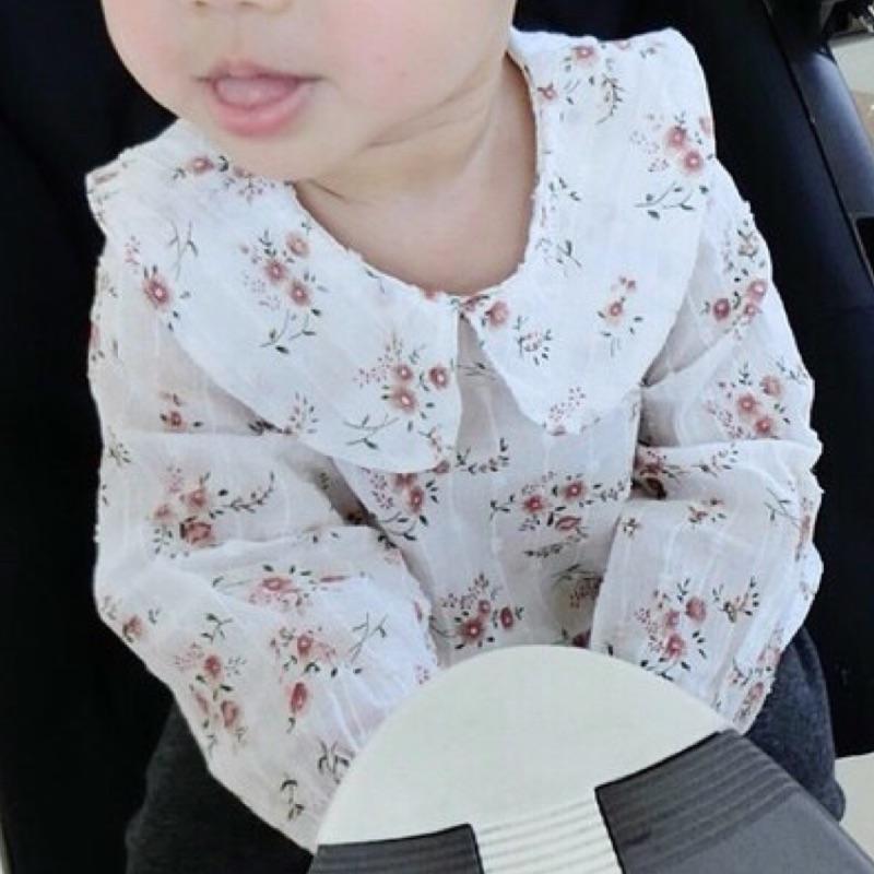 ⛱ ⛱女寶寶女童純棉碎花娃娃領長袖襯衫裙長版衣上衣長袖