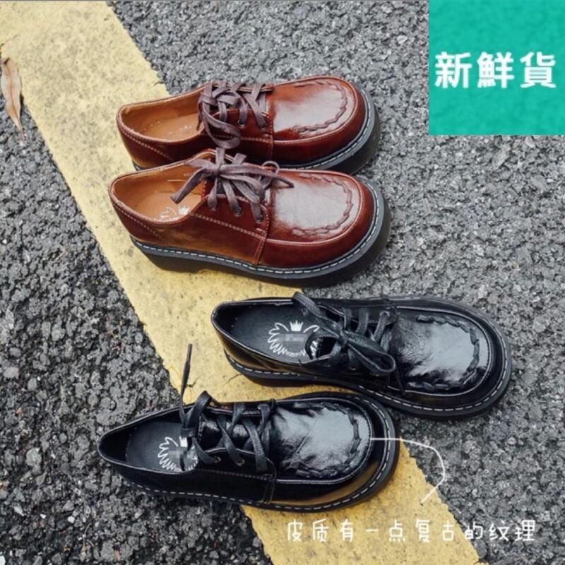 原宿學院風 加絨保暖低幫小皮鞋英倫復古圓頭娃娃鞋系帶女鞋學生鞋