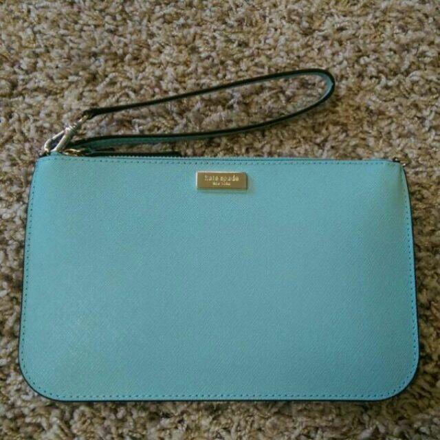 正品Kate Spade New York 真皮拉鍊手拿包萬用包卡夾包零錢包清新淺藍天空藍