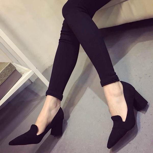 ♣2016 新品尖頭簡單大牌 粗跟OL 氣質百搭高跟淺口單鞋子尖頭高跟鞋厚底涼鞋厚底跟鞋楔
