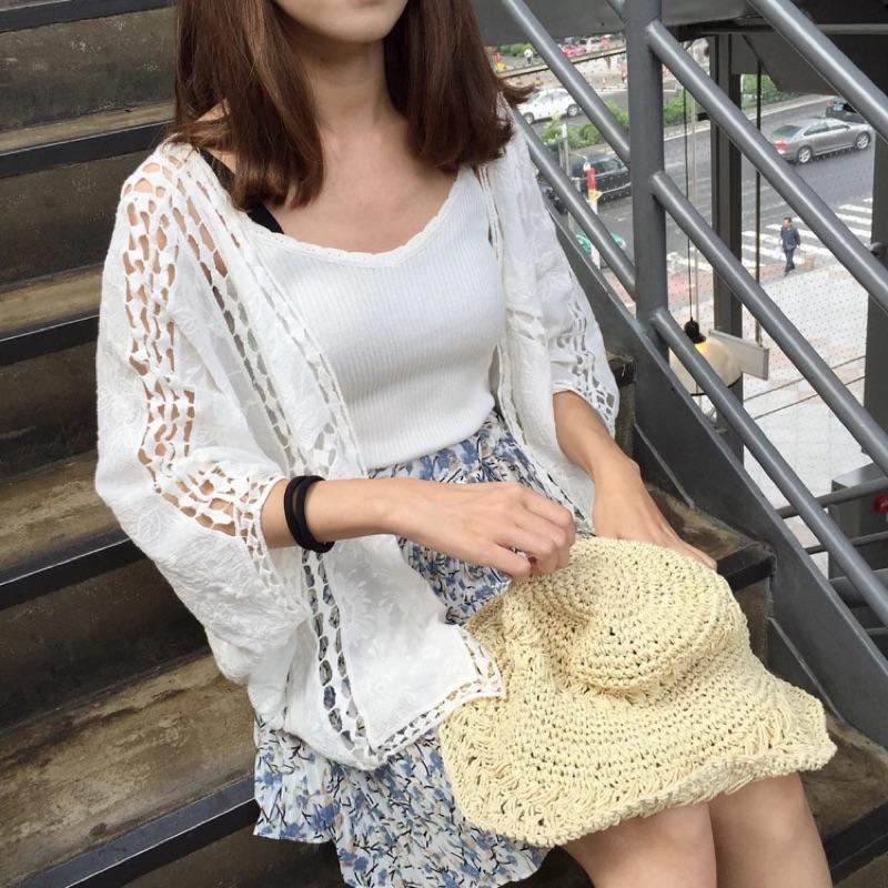 韓國日系情緒典雅氣質白色棉麻蕾絲燒花簍空寬鬆寬袖開襟罩衫外套