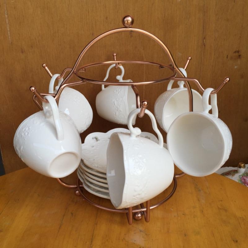 浮雕咖啡杯6 入含杯架玫瑰金不繡鋼杯架咖啡杯