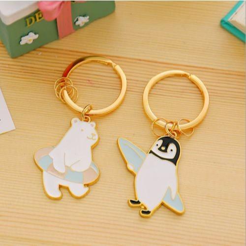 〈Riku 's Zakka 莉可的雜貨小鋪〉 可愛粉嫩清新精緻北極熊企鵝金屬鑰匙圈鑰匙扣