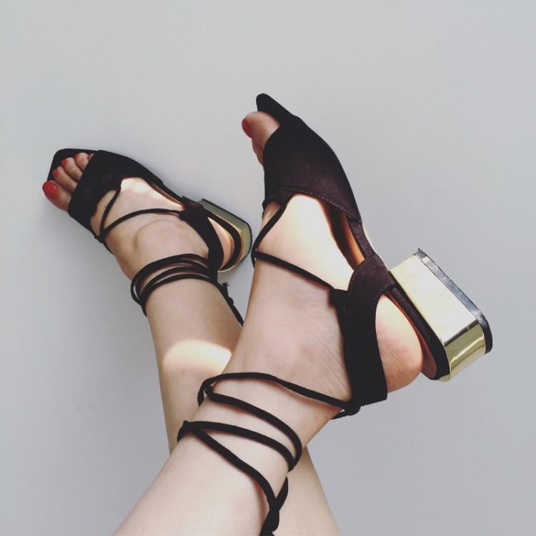 潮魚嘴露趾方頭交叉綁帶羅馬鞋中低跟粗跟涼鞋女潮流街