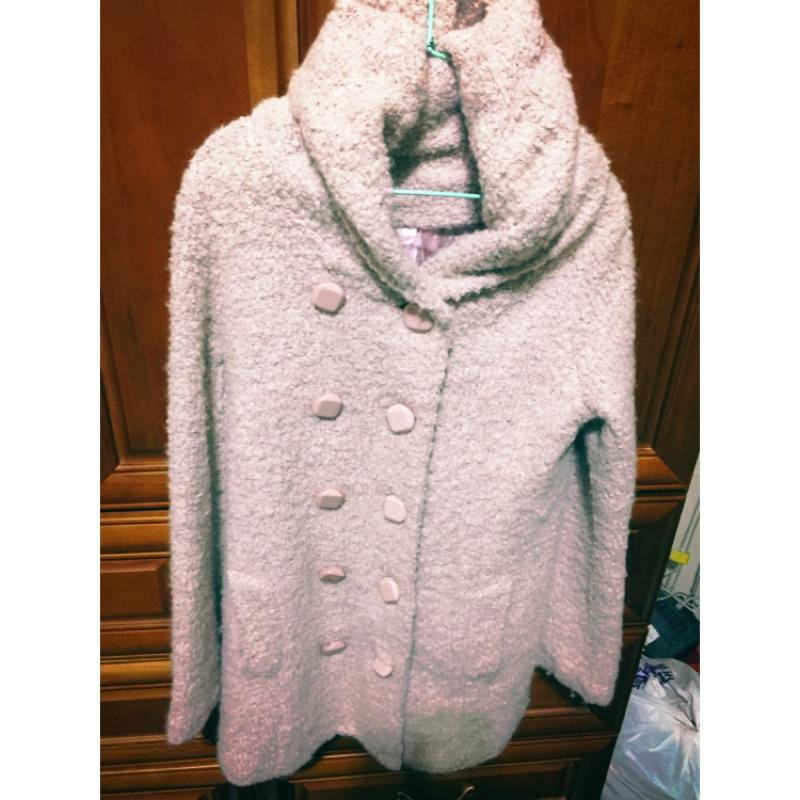 藕粉色保暖厚實連帽長版大衣外套
