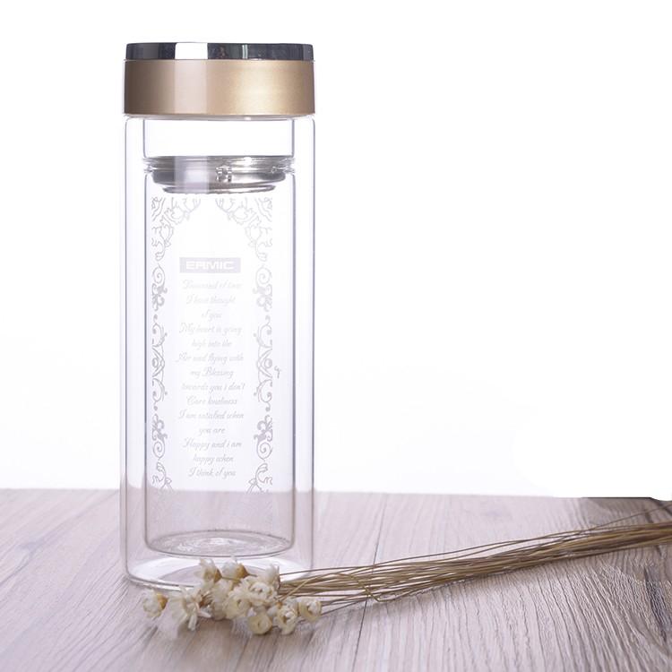 雙層玻璃杯透明帶蓋過濾泡花茶杯水杯子隨手杯口杯