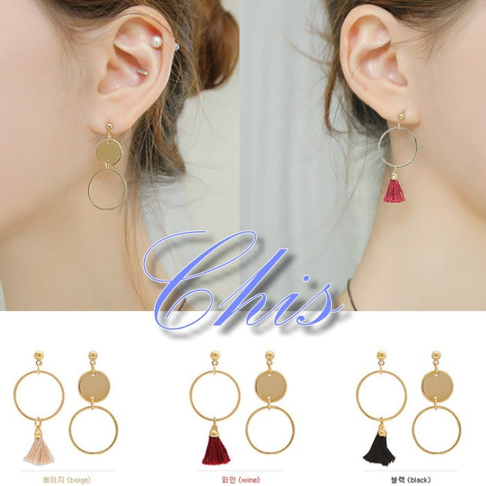Chis Store ~圓片鏤空圈圈流蘇耳環~韓國 不對稱幾何圓形圖案圓珠垂墜耳飾可改無耳