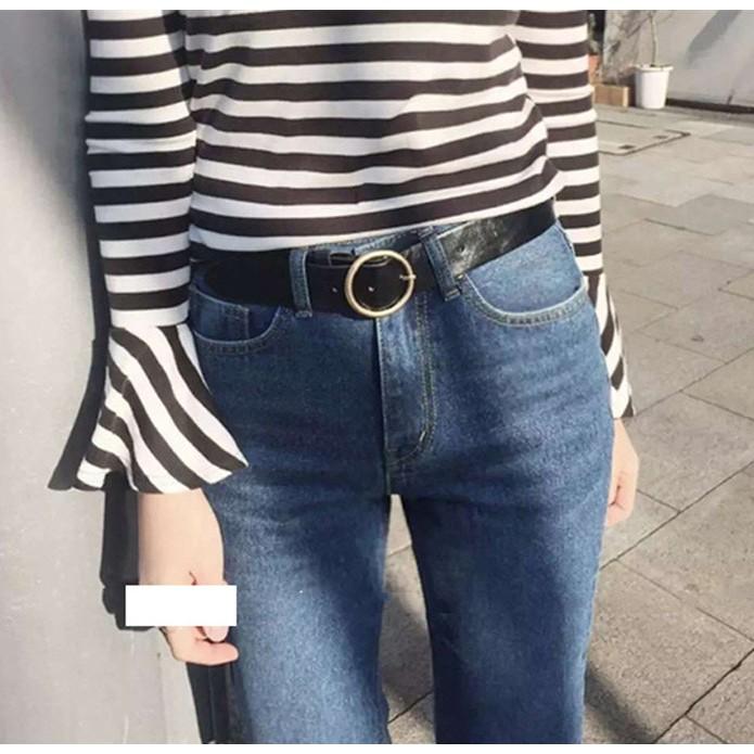 Chu shop 韓國 潮流百搭簡約圓形金屬PU 皮女寬腰帶針扣式皮帶硬皮兩色